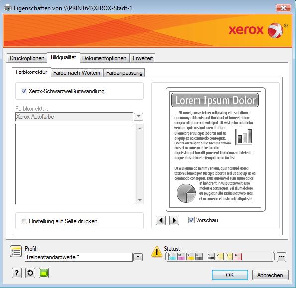 Drucken in öffentliche/private Box (Xerox-Drucker)